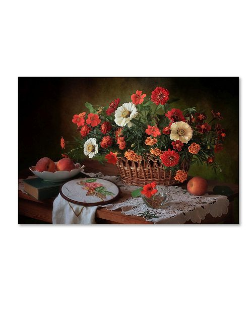 "Trademark Global Tatyana Skorohod 'Still Life with Flowers in August' Canvas Art - 47"" x 30"" x 2"""