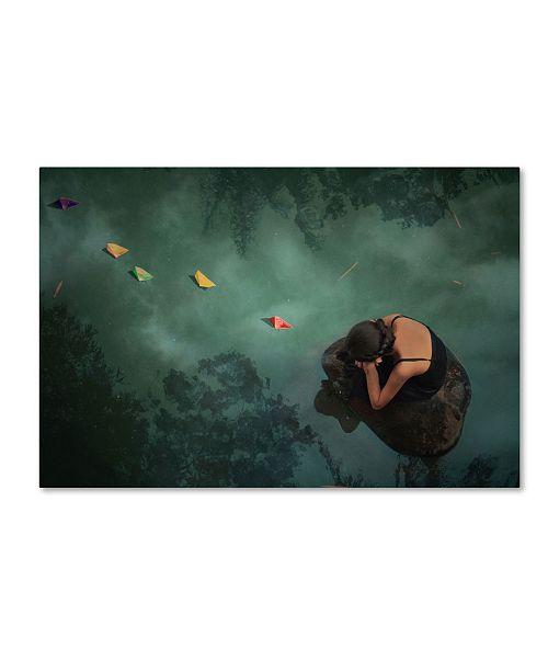 "Trademark Global Jay Satriani 'Paper Boat' Canvas Art - 19"" x 12"" x 2"""
