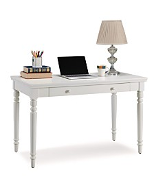 Leick Home Cottage White Turned leg Laptop Desk with Center Drawer