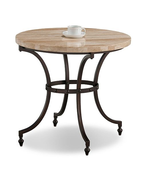 Oval Travertine Stone Top Side Table
