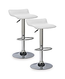 Leick Home Favorite Finds White Adjustable Swivel Barstool-Set of 2
