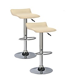 Leick Home Favorite Finds Cream Adjustable Swivel Barstool-Set of 2