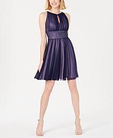 Embellished Keyhole Halter Dress