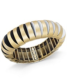 Gold-Tone Black & White Stretch Bracelet