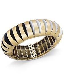 kate spade new york Gold-Tone Black & White Stretch Bracelet