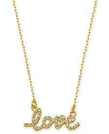 "kate spade new york Gold-Tone Crystal Love Pendant Necklace, 16"" + 3"" extender"