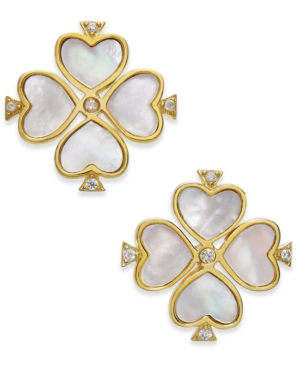 412a74b39 KATE SPADE. Kate Spade New York Gold-Tone Sterling Silver Pave & Mother-Of-Pearl  Flower Stud Earrings ...