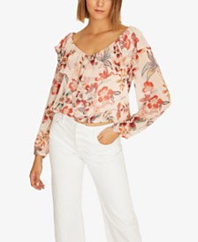 Sanctuary Lady Like Floral-Print Ruffle Top