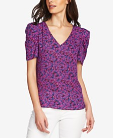 Vince Camuto Floral-Print Puff-Sleeve Top