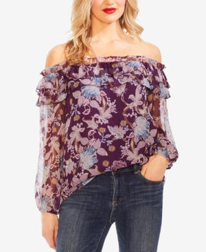 Vince Camuto Tops POETIC BLOOMS FLORAL-PRINT RUFFLED OFF-THE-SHOULDER TOP