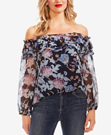 Vince Camuto Poetic Blooms Floral-Print Ruffled Off-The-Shoulder Top