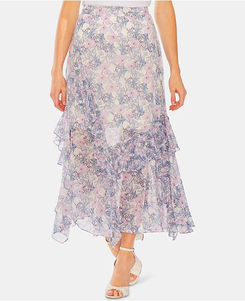 Vince Camuto Floral-Print Ruffled Skirt