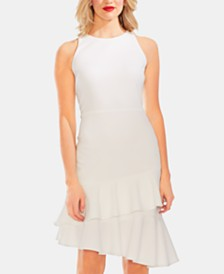 Vince Camuto Ruffled Asymmetrical-Hem Dress