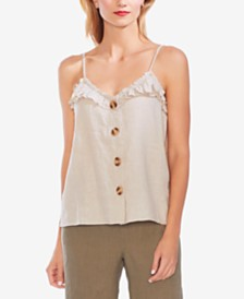 Vince Camuto Ruffle-Trim Buttoned Camisole Top