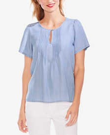 Vince Camuto Pintucked Keyhole Top