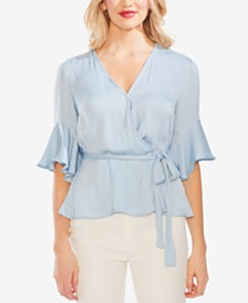 Vince Camuto Surplice Ruffled-Sleeve Blouse