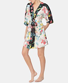 Betsey Johnson Floral-Print Short Wrap Robe