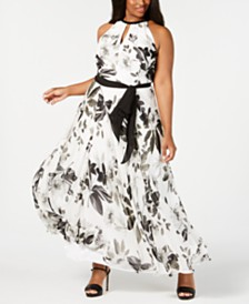Calvin Klein Plus Size Printed Beaded-Halter Gown