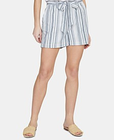 River Valley Striped Paper-Bag Shorts