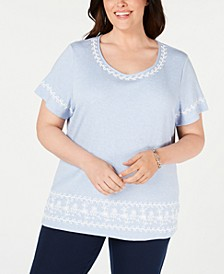 Plus Size Puff Striped Top, Created for Macy's