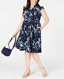 Plus Size Printed Ruffle-Sleeve Shirtdress, Created for Macy's