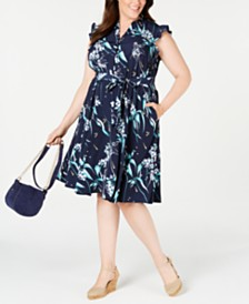 Charter Club Plus Size Printed Ruffle-Sleeve Shirtdress, Created for Macy's
