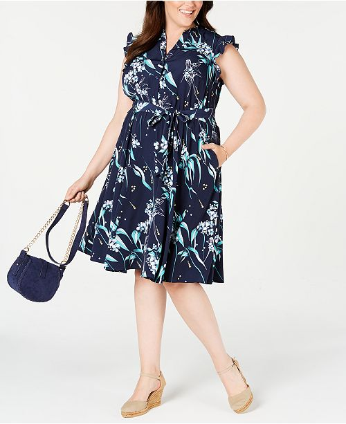 Plus Size Printed Ruffle-Sleeve Shirtdress, Created for Macy\'s