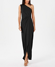Draped One-Shoulder Gown