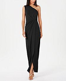 Calvin Klein Draped One-Shoulder Gown