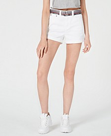 Belted High-Rise Jean Shorts