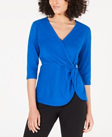 Alfani Petite Twist-Side Faux-Wrap Top, Created for Macy's