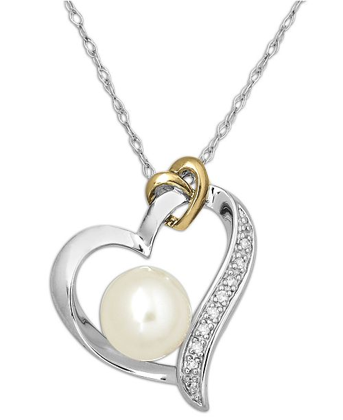 Macy's 14k Gold and Sterling Silver Necklace, Cultured Freshwater Pearl (8mm) and Diamond Accent Heart Pendant
