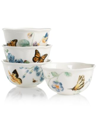 Dinnerware, Set of 4 Butterfly Meadow Blue Assorted Bowls