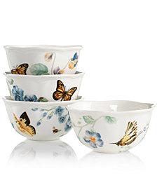 Lenox Dinnerware, Set of 4 Butterfly Meadow Blue Assorted Bowls
