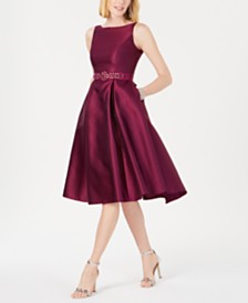 Adrianna Papell Belted Mikado Satin Dress