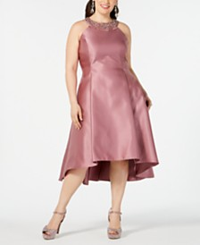 Adrianna Papell Plus Size Embellished Mikado Satin Dress