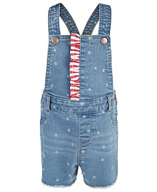First Impressions Baby Girls Ruffle Trim Denim Shortalls, Created for Macy's
