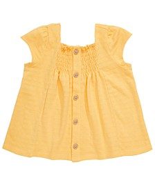 Baby Girls Cotton Smocked Crepe Top, Created for Macy's