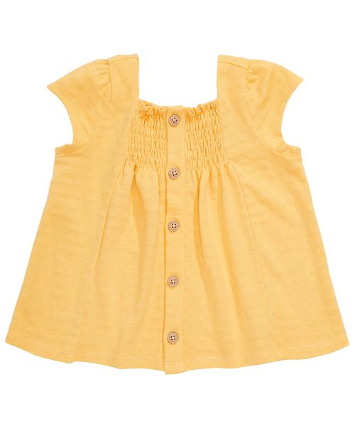 First Impressions Baby Girls Cotton Smocked Crepe Top, Created for Macy's