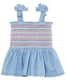 First Impressions Baby Girls Smocked Cotton Chambray Tank Top, Created for Macy's