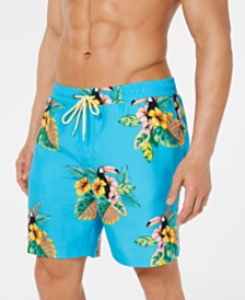 "Club Room Men's Toucan Quick-Dry 7"" Swim Trunks, Created for Macy's"