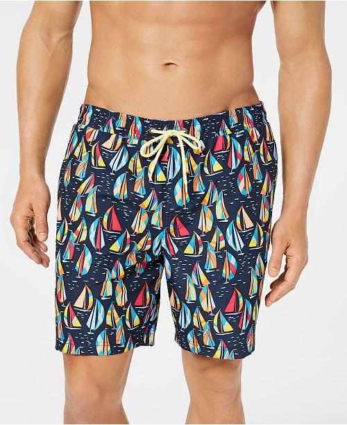 "Club Room Men's Sailboat Quick-Dry 7"" Swim Trunks, Created for Macy's"