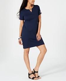 Karen Scott Cotton Ribbon-Trim Keyhole Dress, Created for Macy's