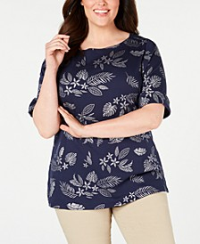 Plus Size Metallic-Print Cuffed-Sleeve Top, Created for Macy's