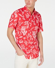Michael Kors Men's Slim-Fit Coral-Print Linen Shirt