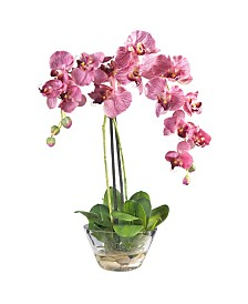 Nearly Natural Phalaenopsis w/Glass Vase Silk Flower Arrangement
