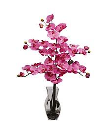 Nearly Natural Phalaenopsis w/Vase Silk Flower Arrangement