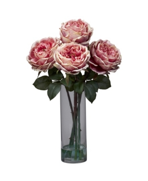 Nearly Natural Fancy Rose w/Cylinder Vase Silk Flower Arrangement