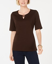 Karen Scott Cotton Cutout Ring-Neck Top, Created for Macy's