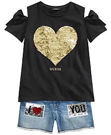 GUESS Big Girls Reversible-Sequin Cold-Shoulder T-Shirt & Denim Shorts